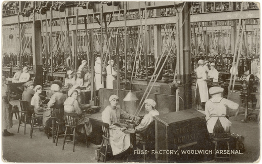 The good ol' days: workers inside a fuse factory, circa late 1800s. Image via Wikipedia.