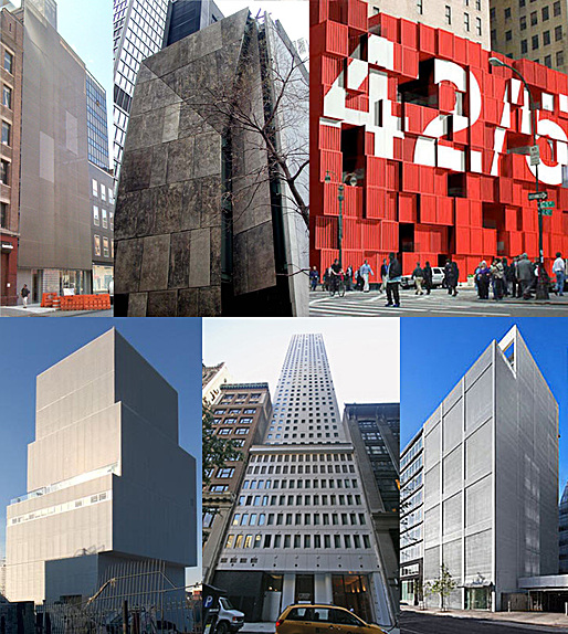 NYC's new starchitect designed prisons: Top left to bottom right: Norten's Americano, Williams and Tsien's Folk Art Prison, LOT-EK's Shipping Container Confinement, SANAA's New Detention, Norten's Celda, Ban's Shutter House