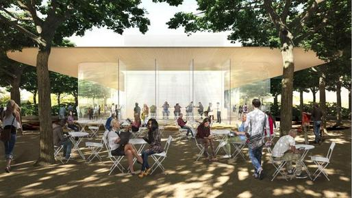 Rendering showing the proposed Apple Campus 2 visitors center with its obligatory cafe and store — and rooftop viewing platform. (Image via bizjournals.com)