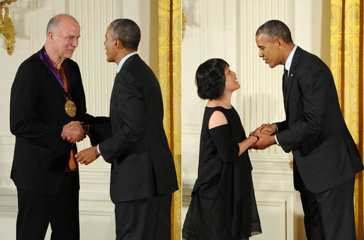 President Obama individually presents the National Medal of Arts to architects Tod Williams (left) and Billie Tsien (right) in a White House ceremony. Photos by Jocelyn Augustino.