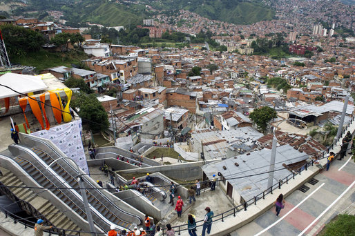 The escalators in Medellin, Colombia, on Dec. 26, 2011, the day of their inauguration. (NPR; Photo: Raul Arboleda/AFP/Getty Images)