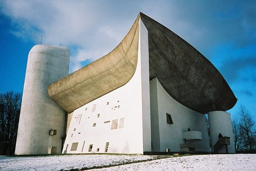 Le Corbusier's Chapel of Notre Dame du Haut in Ronchamp, France. Image via Bluffton University.