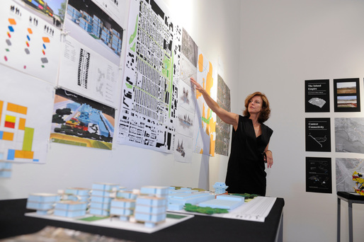 Jeanne Gang of Studio Gang presents at the Foreclosed: Rehousing the American Dream Open Studios at MoMA PS1on June 18, 2011. Photographs by Don Pollard.  2011 The Museum of Modern Art.