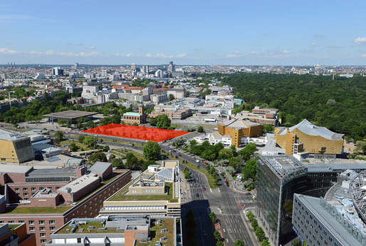 "Sandwiched between Mies van der Rohe's Neue Nationalgalerie and Hans Scharoun's building ensemble of Berlin State Library, Philharmonie, and Chamber Music Hall, the site for the new ""Museum der Moderne"" facility carries high expectations for spatial reconciliation. (Photo: Philipp Eder, via kulturforum-berlin.de)"