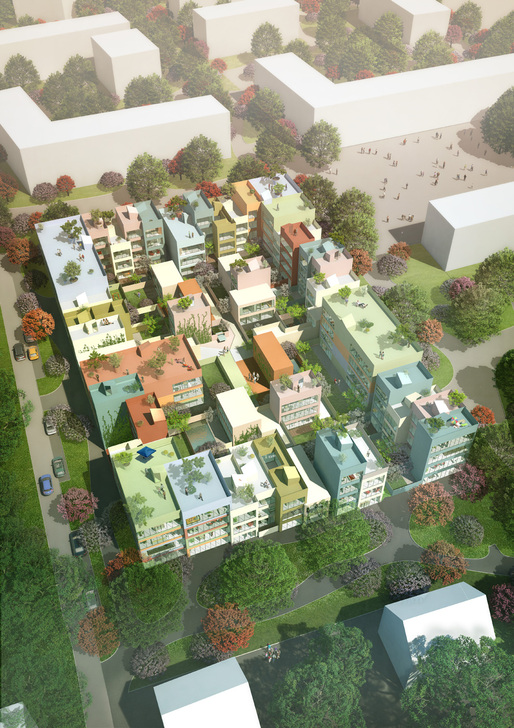 Aerial view of Urban Hybrid Emmen: 95 homes in 16 types (Image courtesy of MVRDV)