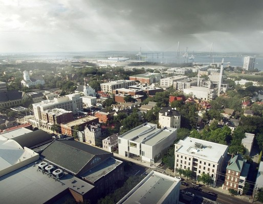 This rendering shows the proposed Spaulding Paolozzi Center, (in middle) in relation to other buildings near Meeting, George and Calhoun streets. Image: Allied Works, via postandcourier.com
