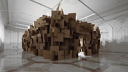 Zimoun + Hannes Zweifel : 200 prepared dc-motors, 2000 cardboard elements 70x70cm, 2011