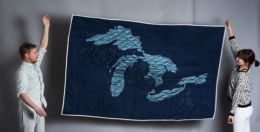 Great Lakes quilt (2012). Image courtesy Emily Fischer.