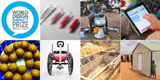 Shortlisted projects for the World Design Impact Prize 2013-2014: ABC (A Behaviour Changing) Syringe, BioLite HomeStove, Family By Family, Refugee Housing Unit, Potty Project, Leveraged Freedom Chair, Laddoo Project (clockwise from top left)