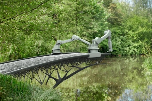 Rendering of robotic arms 3D printing a bridge. Credit: MX3D, via iflscience.com