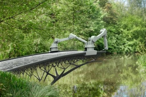 Rendering of robotic arms 3D printing a bridge. Credit: MX3D, via iflscience.com