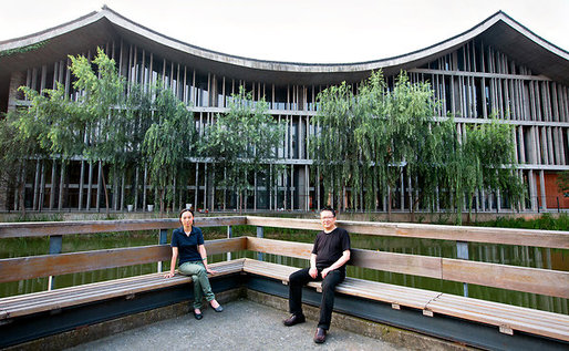 Wang Shu and his wife, Lu Wenyu, also an architect, at the China Academy of Art. (Photo: Sim Chi Yin for The New York Times)
