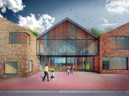 Main entrance of the proposed Onze Droomschool in Dordrecht, the Netherlands, designed by Mecanoo architecten (Image: Mecanoo architecten)