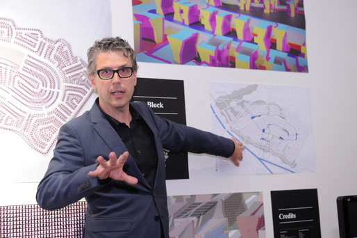Andrew Zago of Zago Architecture presents at the Foreclosed: Rehousing the American Dream Open Studios at MoMA PS1 on June 18, 2011. Photograph by Don Pollard.  2011 The Museum of Modern Art.