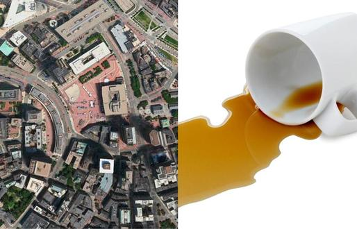 Boston's layout is disordered, like the molecules of a liquid. Image via bostonglobe.com