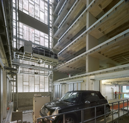 By parking cars automatically, The Lift in Philadelphia can have twice as many stalls (220 on 8 floors) as a conventional parking structure. (The Lift; image via citylab.com)