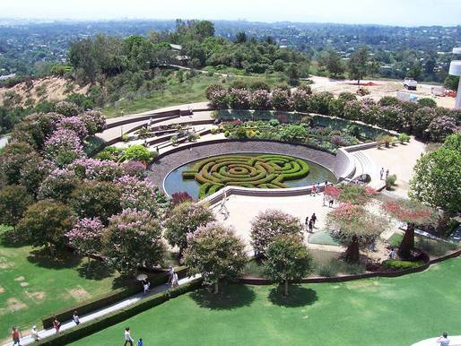 The Getty Center's gardens, which were designed by artist Robert Irwin in concert with architect Richard Meier (Photo by Vanderven/Wikimedia Commons)