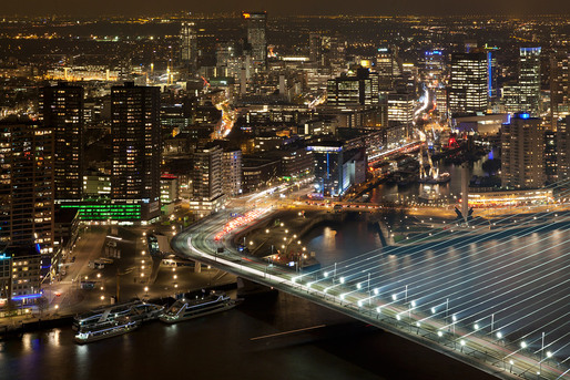 Elevated view of Rotterdam from the highest residential tower in the Netherlands, 'New Orleans.' This photo was taken for Rotterdam Marketing. © Ossip van Duivenbode