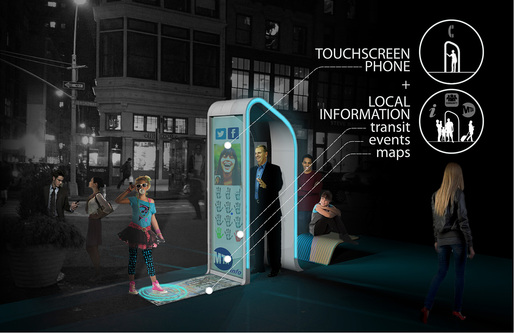 Winner of the Creativity Award at the Reinvent Payphones Design Challenge: FXFOWLE's concept &quot;NYC Loop&quot; (Image: FXFOWLE)