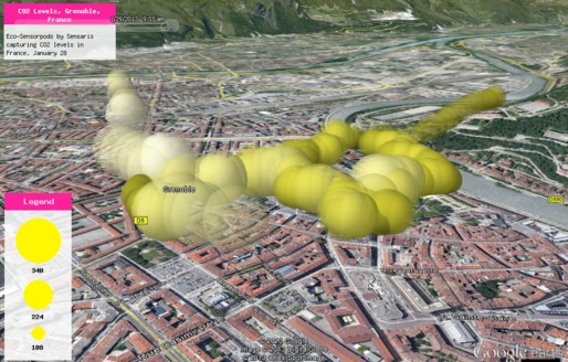 DataAppeal Application showcasing alternative datascape rendering of CO2 Levels, in Grenoble France, using yellow color and spherical model option, slight transparent effect. Data Source: Sensaris Eco-Senspod, Senaris France.