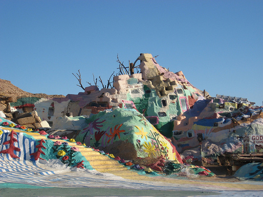 Salvation Mountain is a project by the late-Leonard Knight near the entrance to Slab City. Credit: reverend lukewarm / Flickr