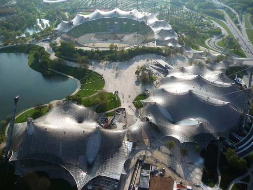 Roofing for main sports facilities in the Munich Olympic Park for the 1972 Summer Olympics, 1968–1972, Munich, Germany. Photo © Atelier Frei Otto Warmbronn