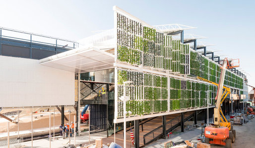 The Biber Architects-designed USA Pavilion under construction. (Photo: Saverio Lombardi Vallauri; Image via nytimes.com)