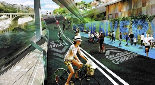A new plan would turn the L.A. River area into a greenway park and bike path. (Caption: LA Times, Image: Los Angeles River Revitalization)