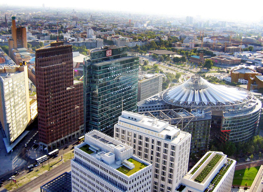 Bird's eye view of Berlin's redeveloped Potsdamer Platz. Photo: Michael J. Zirbes