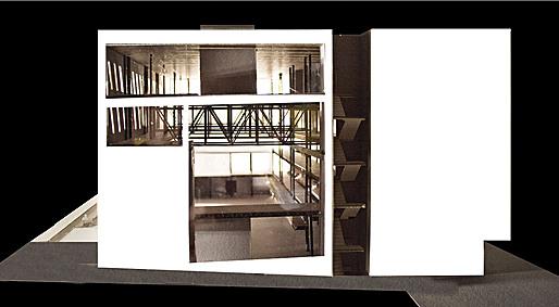 model photo, east facade looking into public room