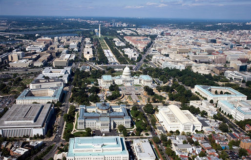 Aerial photo of Washington, D.C. where commuters spent a record number of 82 hours in traffic delays in 2014, according to the latest study by Texas A&M's Transportation Institute.