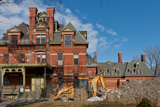 The Illinois Historic Preservation Agency has begun $3.5 million in work on the long-vacant Hotel Florence in Chicago's Pullman neighborhood photo by William Zbaren for The New York Times