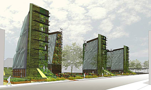 The Whittier Sustainable Food Center seeks to achieve a porous, dense, vertical form of biologically responsive architecture. Image: Daniel Toole