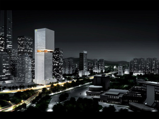 Rendering of the proposed Essence Financial Building in Shenzhen (Image courtesy of OMA)