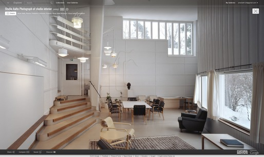 Screen shot of Aalto's studio from the Google Cultural Institute.
