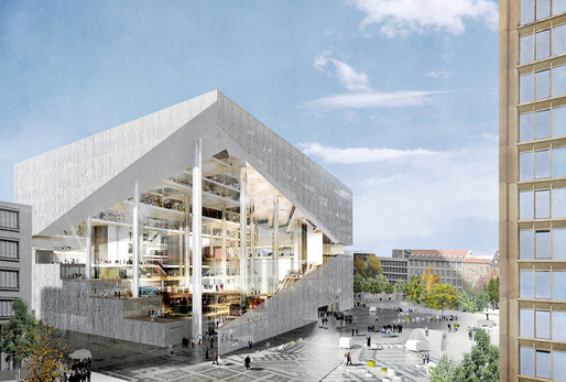 Rendering of the OMA-designed Axel Springer digital media center for Berlin. (Image: Axel Springer/OMA via bloomberg.com)