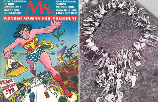Left: Ms. Magazine, inaugural issue, summer 1972. Right: Faculty and students of the Women's School of Architecture and Planning Summer Program, 1975. [Images courtesy of Gabrielle Esperdy]