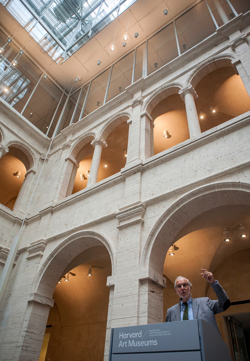 Architect Renzo Piano spoke at the new Harvard Art Museums building last week, the culmination of a six-year-long restoration and expansion project. (via bostonmagazine.com; Photo by Olga Khvan)