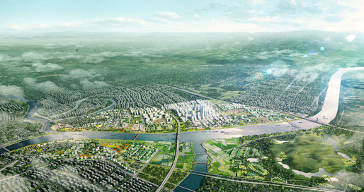 Aerial view of ADEPT's competition-winning concept 'Green Loops City' © ADEPT