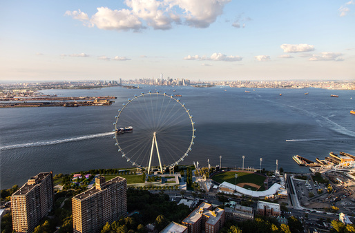 Rendering of the proposed observation wheel for Staten Island. (Rendering: Perkins Eastman; Image courtesy of The New York Wheel)