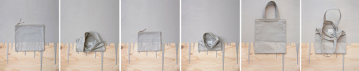 Fall 2012 Accessories - canvas bags dipped in latex house paint – clutch, pouch, tote shown in fog gray