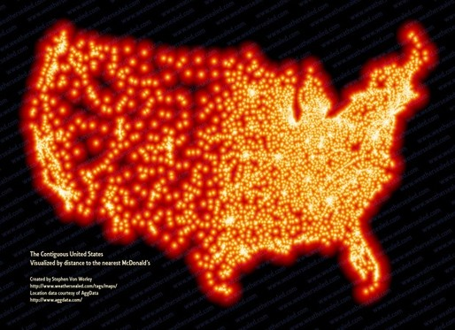 The McFarthest Place: The Lower 48 Visualized by Distance to the Nearest McDonald's (Source: Data Pointed first published in Strange Maps)