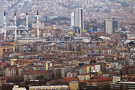 Ankara: traditional roof construction, concrete towers