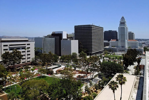 Grand Park facing City Hall on the right. Image via the Architect's Newspaper.