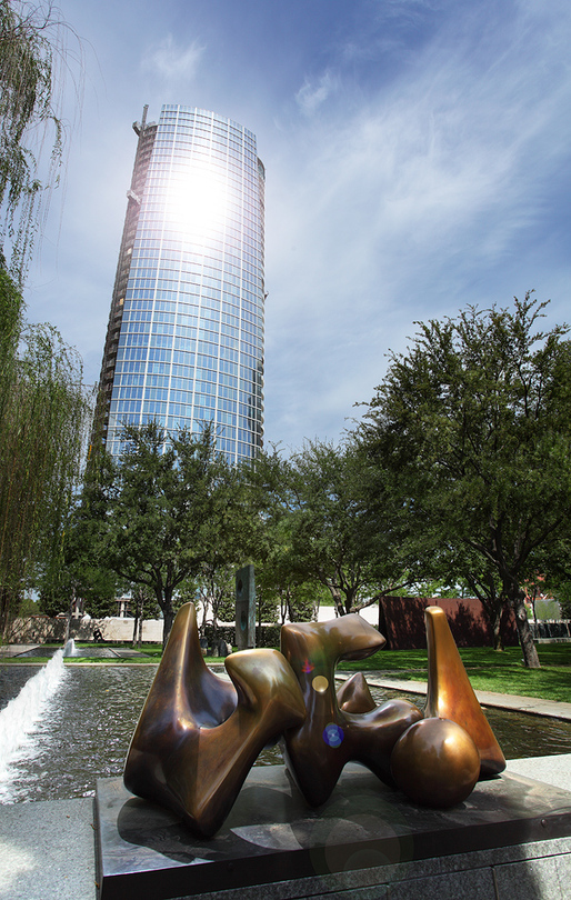 In March, the towers reflection raised the temperature in the Nasher garden to 103 degrees. Photography by Scott Womack