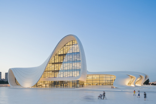 HEYDAR ALIYEV CENTER, BAKU, AZERBAIJAN. Designed by Zaha Hadid and Patrik Schumacher. Photo courtesy of Designs of the Year 2014.