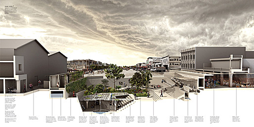 Sectional perspective of urban hub in downtown Port-au-Prince