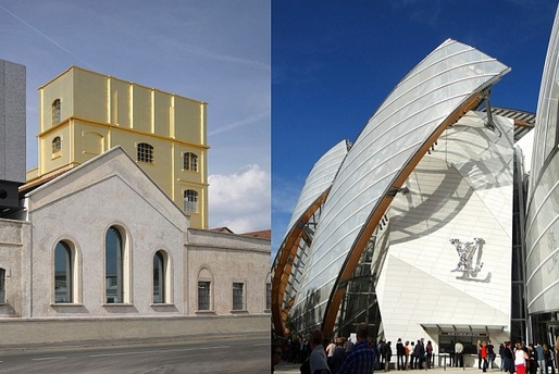Luxurios opponents: the Rem Koolhaas-designed Fondazione Prada in Milan and Frank Gehry's Fondation Louis Vuitton in Paris. (Photos: Bas Princen, eyepreferparis; Image via The Art Newspaper)