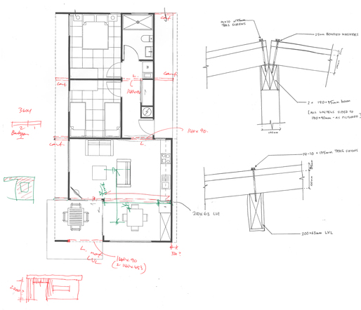 Measuring, Calculating and drawing details for roof beams and connections