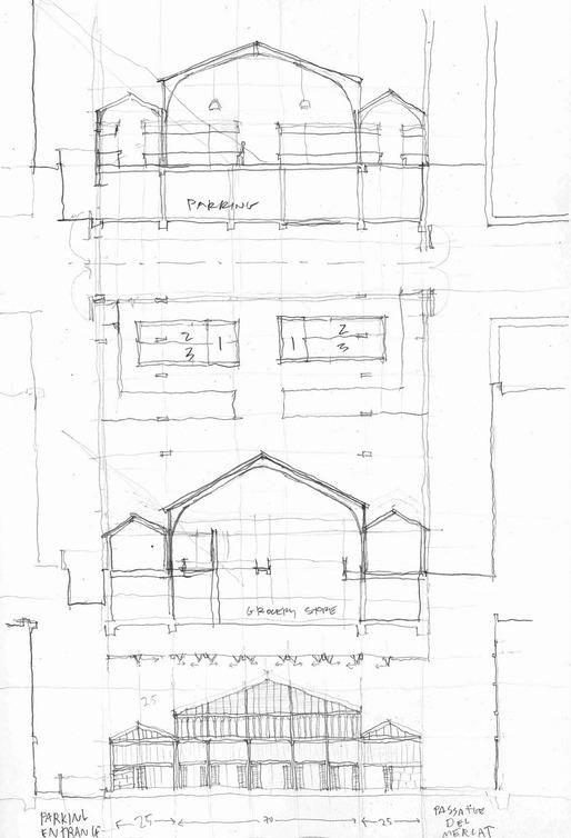 Plan/Section/Elevation overlays. Mercat de La Concepcio